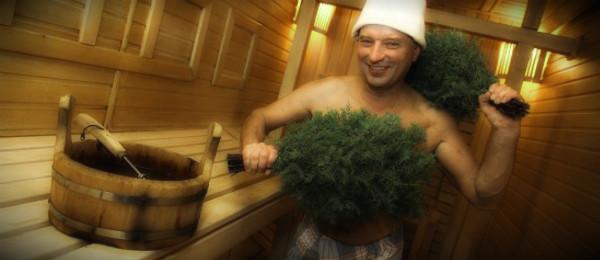 мужик парится в бане