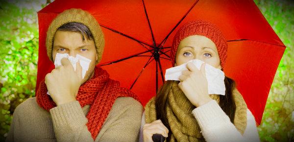 простуженные под осенним дождём