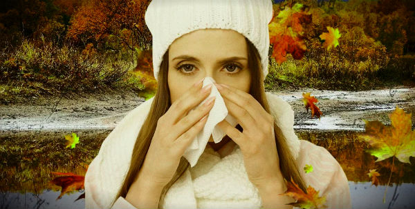 девушка платок простуда осень